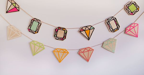 Cutest balsa wood gem garland. Can see this up year round or