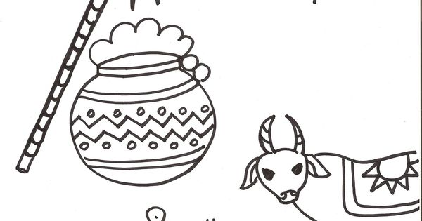 Pongal coloring page download indian festivals for kids for Pongal coloring pages