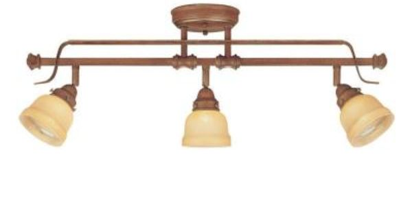 Hampton Bay 3 Light Bronze Bath Light 25107: Hampton Bay 3-Light Adjustable Semi-Flush Mount Walnut