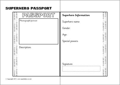 Superhero passport template idea superhero reading for Passport picture template