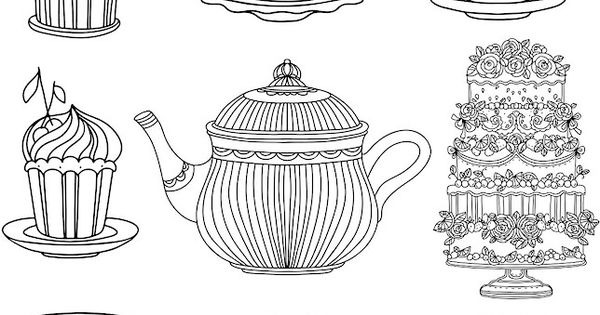 Coffee Tea And Cake Coloring Page