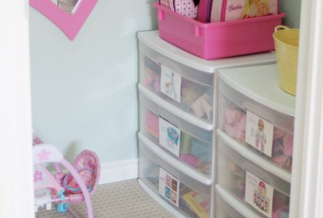 ~Toy Room Organization~ Plastic craft storage drawers from the discount stores are