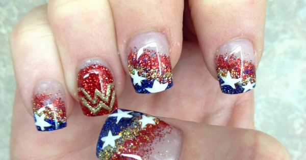 My Wonder Woman Nails done for my Birthday! Thanks to Edy at