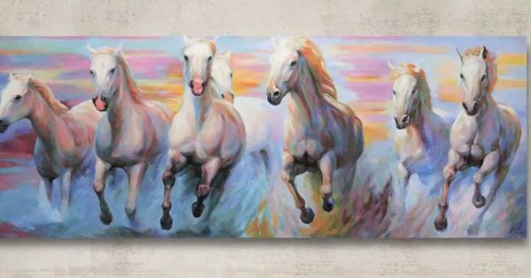 White Horses Running Original Painting By J O Art Studio Cologne Horse Canvas Painting Seven Horses Painting Horse Art Drawing