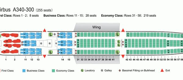 Delta A340 300 Seating Air China Airlines Airbus A340 300 Aircraft