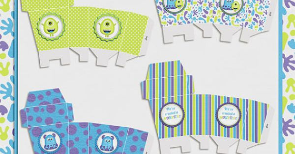 Baby Shower Favor Boxes Pinterest : Little monster party favor boxes great for monsters inc