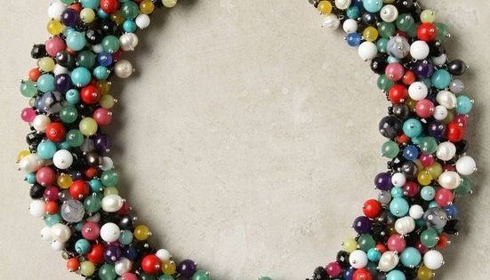 Anthro Knockoff DIY beaded necklace. And her tutorial is adorable and easy.