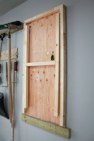 Fold Up Garage Work Table Piano Hinge To Wall Cleat Strap Hinges On Legs I Might Like Additional Cross Pieces Diy Garage Storage Diy Garage Garage Makeover