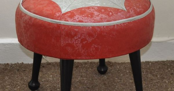 Vintage 50s 60s Sherborne Foot Stool Retro Kitsch Red