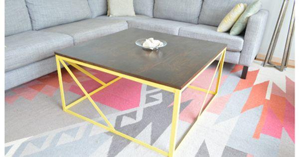 Diy a modern metal coffee table from raw steel and plywood for Plywood coffee table diy