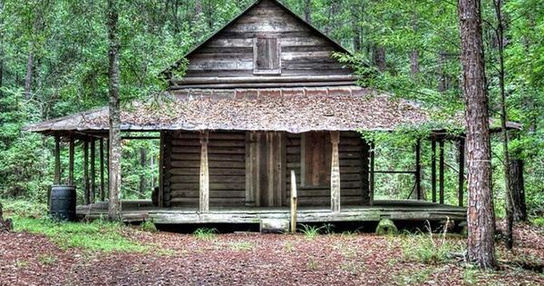 Old log cabin in the woods something old pinterest for Cabin with wrap around porch