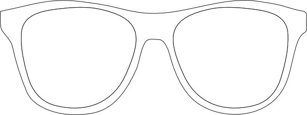 Sunglasses outline. Printable glasses template black