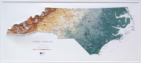 North Carolina Topographic Map Raised Relief Maps 3d Topographic Map US State Series | Relief map