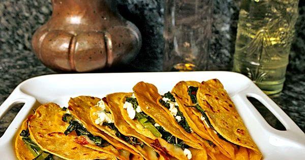 ... Quesadillas stuffed with greens and feta | Quesadillas, Feta and Green