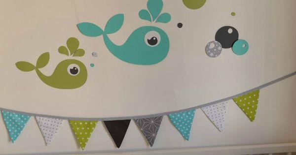 Stickers Baleine Anis Turquoise Gris Blanc Toiles D Coration Chambre B B Enfant D Coration