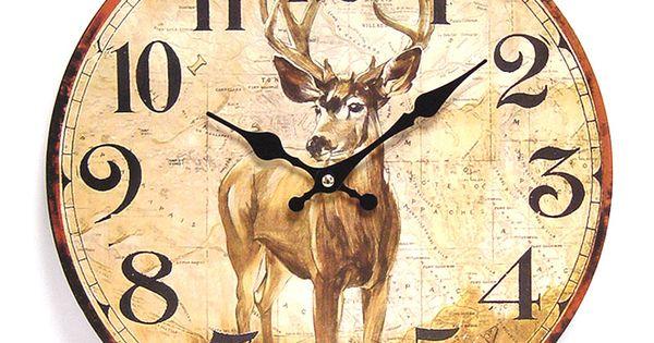 Nostalgische klok hert small houten wandklok met afbeelding van een hert voor deze klok zit - Afbeelding van huisdecoratie ...