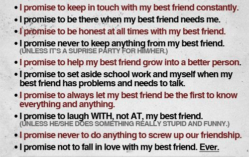 The best friend contract. I will stick by it, I promise. I'm