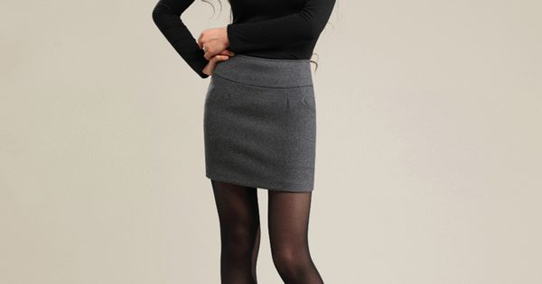 winter wool thick tight pencil skirt casual color