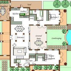 U Shaped House Plans With Pool In The Middle Courtyard Horseshoe Design By Architect Projetos De Casas Terreas Casas Projetos De Casas