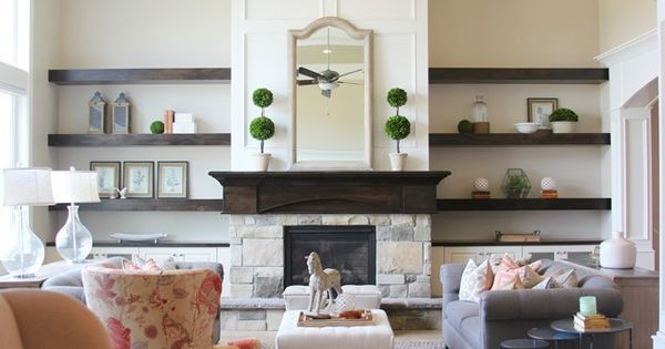 Modern Floating Shelves And Cabinet Around Fireplace Kaylinmcgrew For Your Home House