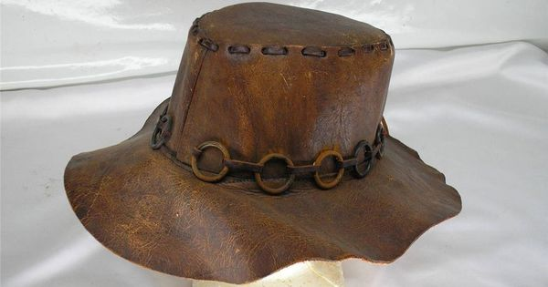 Old Vtg Leather Hat Western Cowboy Hippie Drifter Hobo 3