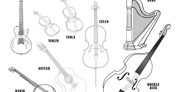 musical instruments coloring sheet the string family music free printable worksheets and. Black Bedroom Furniture Sets. Home Design Ideas