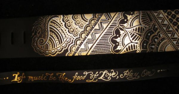 strap with gold and silver metallic painted henna mehndi designs ... Henna Designs