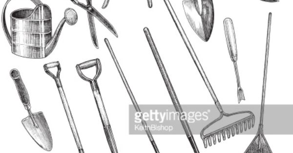 Ink drawing garden tools google search garden tools for Gardening tools drawing