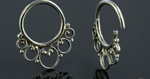 14k white gold cinque septum seamless ring septum