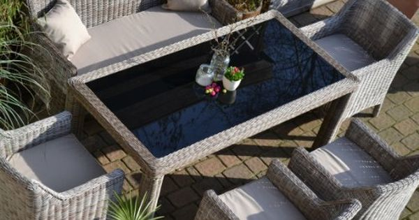Gartenmobel Set Tisch Bank Und 4 Sessel Rattan Polyrattan Geflecht Paris 7 Sand Grau Online Kaufen Bei Woonio Gartenmobel Gartenmobel Tisch Aussenmobel