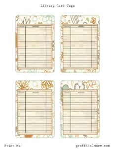 Free Printables Vintage Library Card Tags The Graffical Muse Free Vintage Printables Printable Journal Cards Vintage Printables