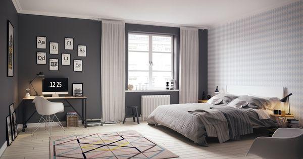 Chambre scandinave grise et blanche moderne avec tapis motifs g om triques inspirations for Chambre scandinave blanche