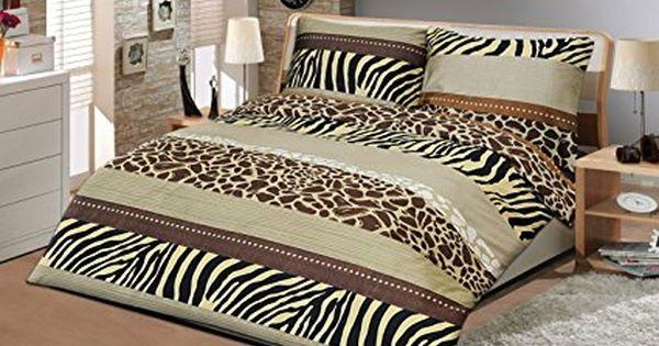 Safari Safari Parure De Lit 4 Pieces En Satin De Coton Mako Motif D Inspiration Africaine Noir Marron Beige Blan Parure De Lit Decoration Maison Satin De Coton