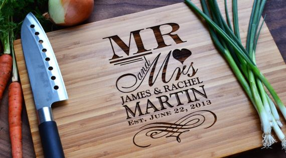 """Personalized Cutting Board """"Mr. and Mrs."""" Engraved Bamboo Wood for Wedding, Anniversary"""