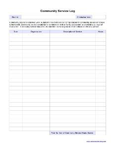 Community Service Log Students Must Complete And Verify At Least