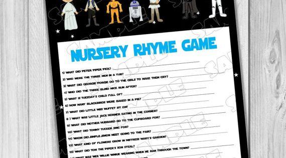 starwars baby shower games star wars nursery rhyme game printable