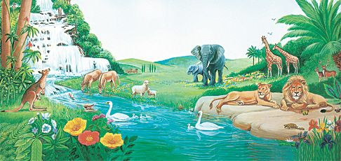 Creation to the flood bible stories bible and jehovah for Adan y eva en el jardin
