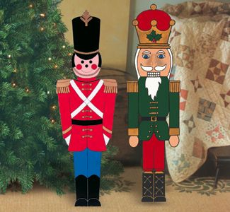 Indoor Christmas Small Toy Soldier And Nutcracker Wood Pattern Christmas Yard Art Christmas Yard Decorations Christmas Soldiers