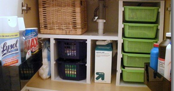 diy undersink storage with 99c baskets
