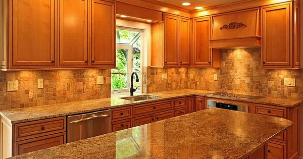 Nice Granite Countertops With Light Brown Cabinets Part 1