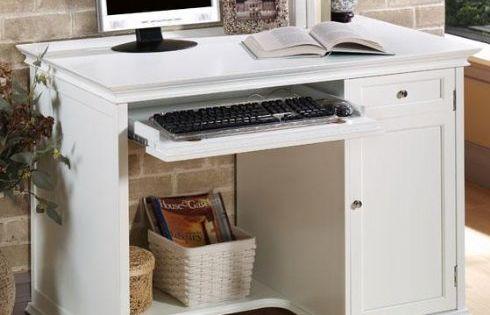 hampton bay 42 inch white computer desk 42 w white home. Black Bedroom Furniture Sets. Home Design Ideas