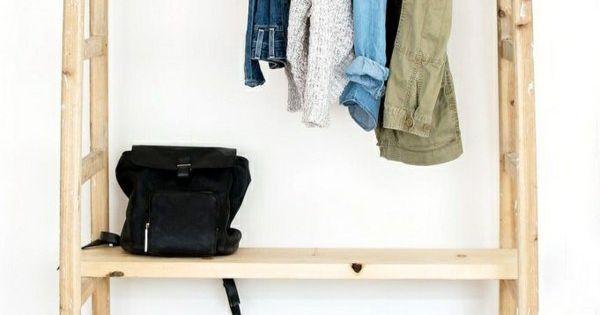 kleiderst nder selber bauen aus holzleiter kreativ bauen basteln pinterest gastzimmer. Black Bedroom Furniture Sets. Home Design Ideas