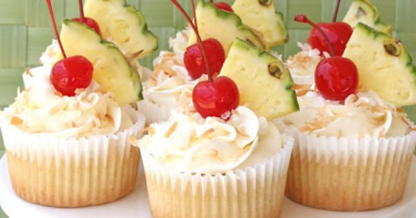 Pina Colada Cupcakes {Recipe} Pineapple Cupcakes with Coconut Cream Cheese Frosting