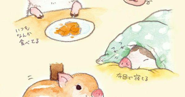 こなつ on instagram 子ブタちゃんが可愛すぎて子ブタちゃんの動画ばかりみている 干支に猪があるのは日本だけで 海外だと豚が多いみたいですねー イラスト イラストレーション 絵 illustration 子ブタ キュートなイラスト かわいい動物の絵