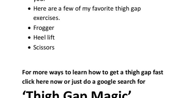 how to get a thigh gap quickly