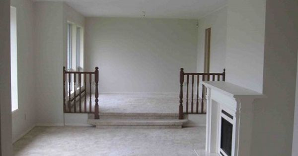 Dated Look Of Sunken Living Room Changed By Removing Rails Widening Step And New Flooring