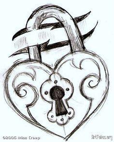 Simple Sketch On Pinterest Lock Drawing Drawings Cool Drawings