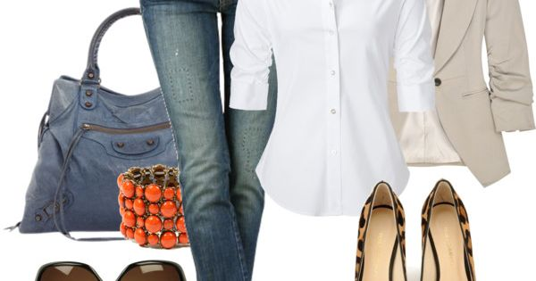 Camel blazer white shirt jeans animal print flats, great casual outfit