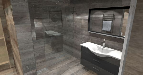 A virtual design for a large luxury wetroom tiled with oak effect porcelain tiles print for - Wet room bathroom designs ...