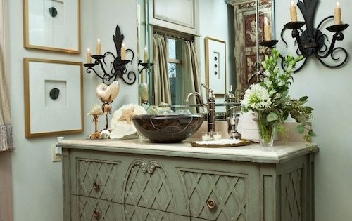 Using A Buffet As A Bathroom Vanity We Like To Incorporate Head Knocker Cabinets Into Our